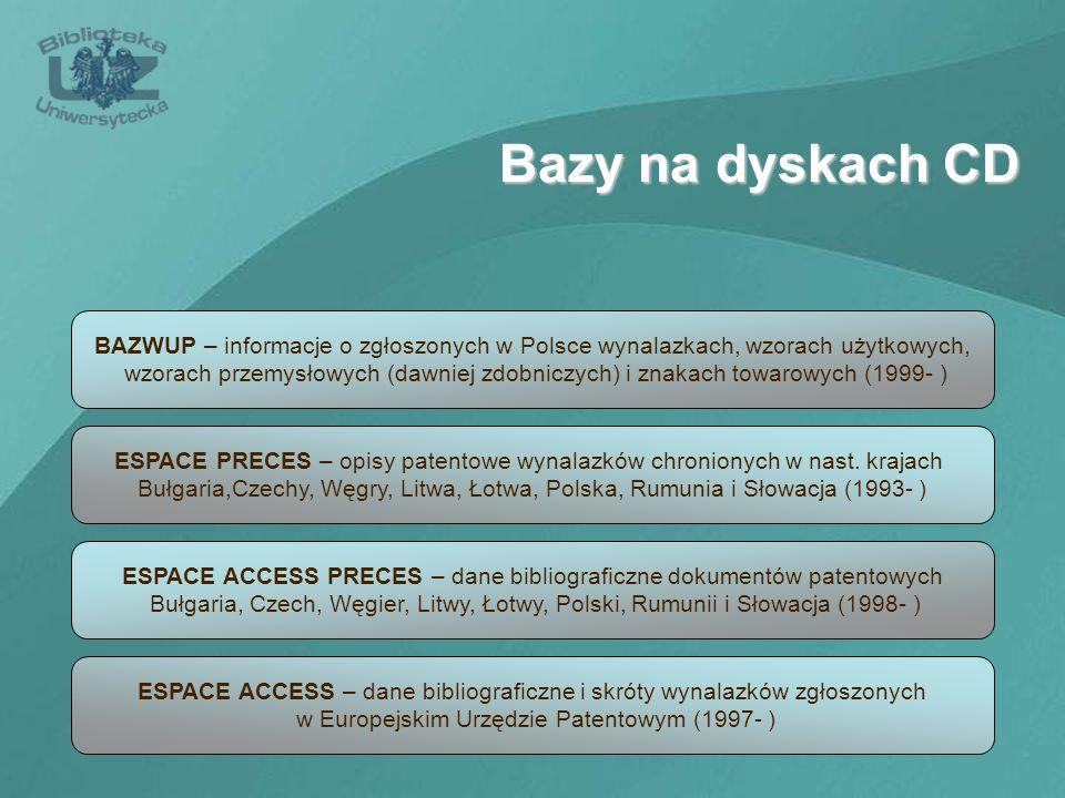 Bazy na dyskach CD BAZWUP – informacje o zgłoszonych w Polsce wynalazkach, wzorach użytkowych, wzorach przemysłowych (dawniej zdobniczych) i znakach t