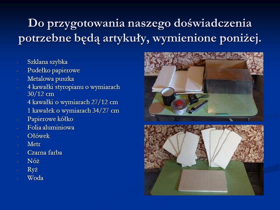 Do przygotowania naszego doświadczenia potrzebne będą artykuły, wymienione poniżej. - Szklana szybka - Pudełko papierowe - Metalowa puszka - 4 kawałki