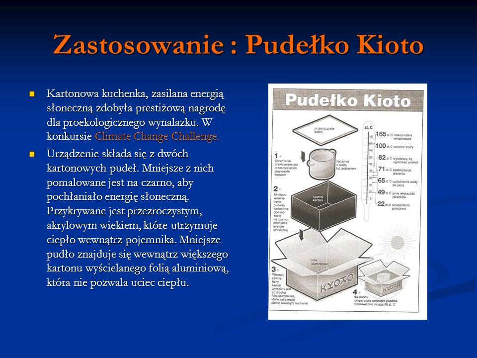 Zastosowanie : Pudełko Kioto Kartonowa kuchenka, zasilana energią słoneczną zdobyła prestiżową nagrodę dla proekologicznego wynalazku. W konkursie Cli