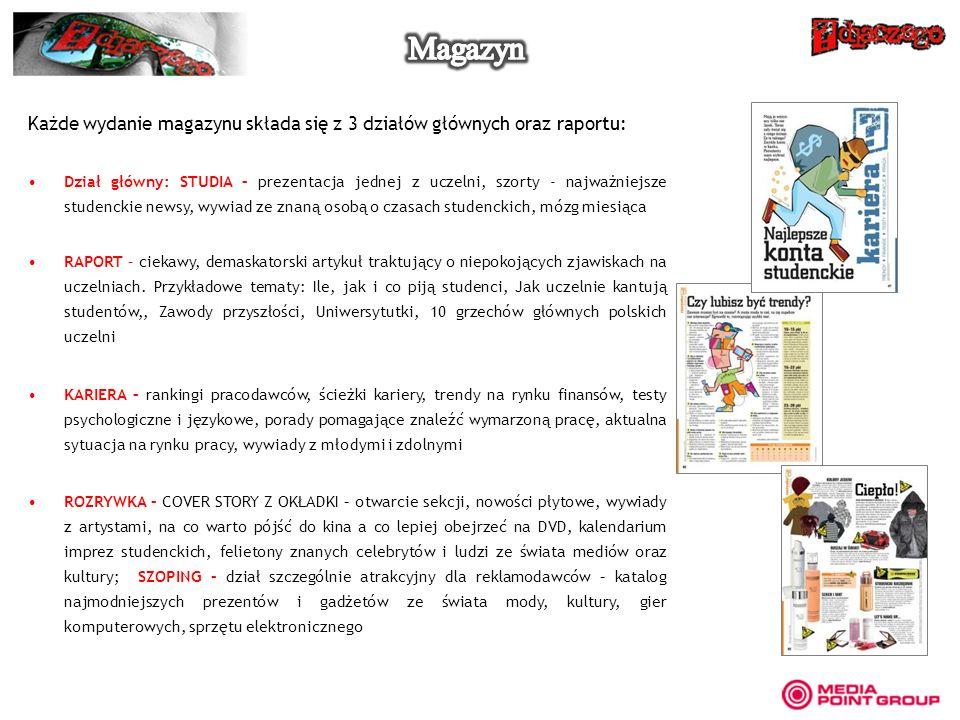 Każde wydanie magazynu składa się z 3 działów głównych oraz raportu: Dział główny: STUDIA – prezentacja jednej z uczelni, szorty - najważniejsze stude