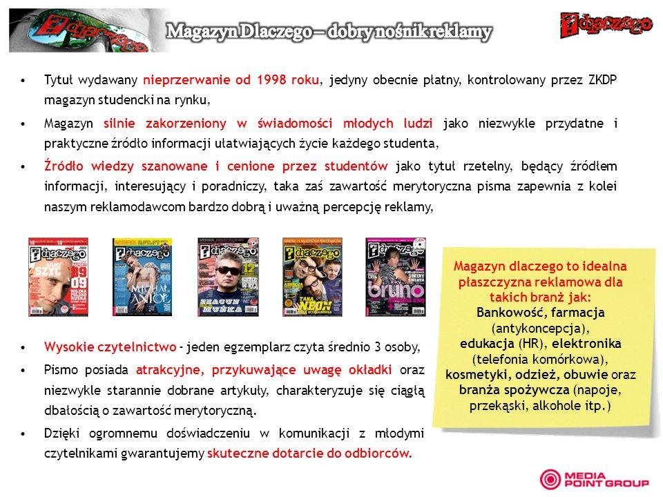 Tytuł wydawany nieprzerwanie od 1998 roku, jedyny obecnie płatny, kontrolowany przez ZKDP magazyn studencki na rynku, Magazyn silnie zakorzeniony w św