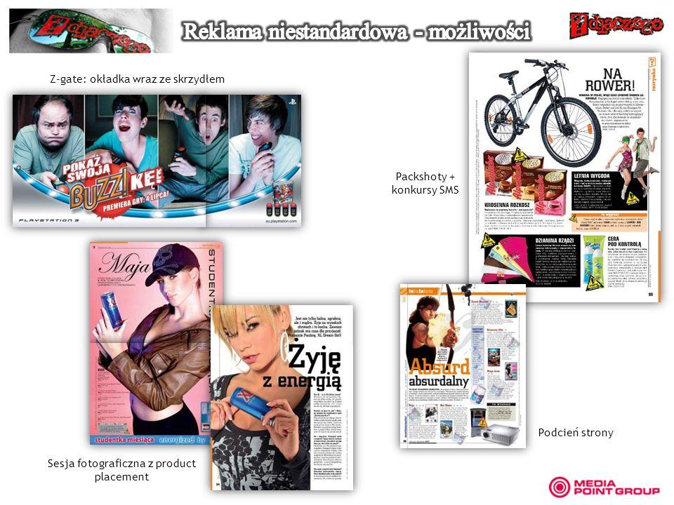 Z-gate: okładka wraz ze skrzydłem Sesja fotograficzna z product placement Packshoty + konkursy SMS Podcień strony