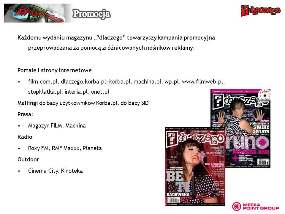Każdemu wydaniu magazynu ?dlaczego towarzyszy kampania promocyjna przeprowadzana za pomocą zróżnicowanych nośników reklamy: Portale i strony interneto