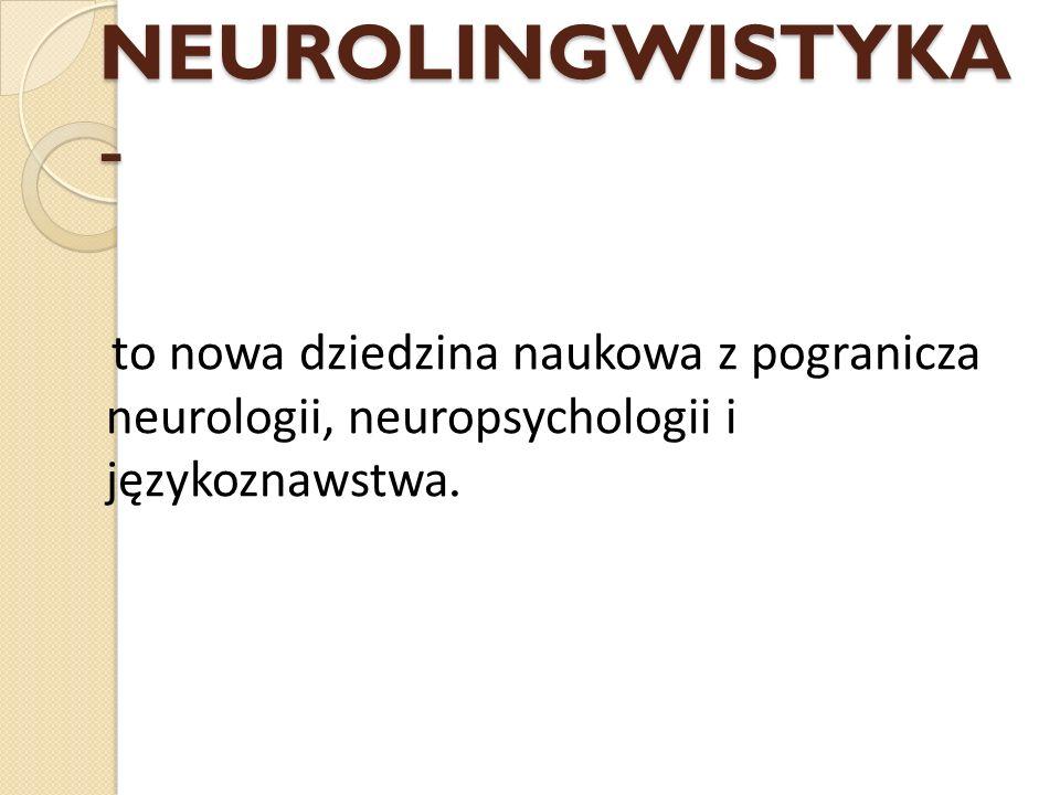 NEUROLINGWISTYKA - to nowa dziedzina naukowa z pogranicza neurologii, neuropsychologii i językoznawstwa.