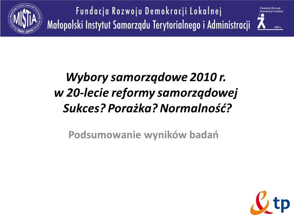 Wybory samorządowe 2010 r. w 20-lecie reformy samorządowej Sukces? Porażka? Normalność? Podsumowanie wyników badań