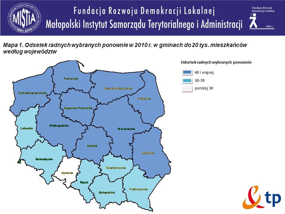Mapa 1. Odsetek radnych wybranych ponownie w 2010 r. w gminach do 20 tys. mieszkańców według województw