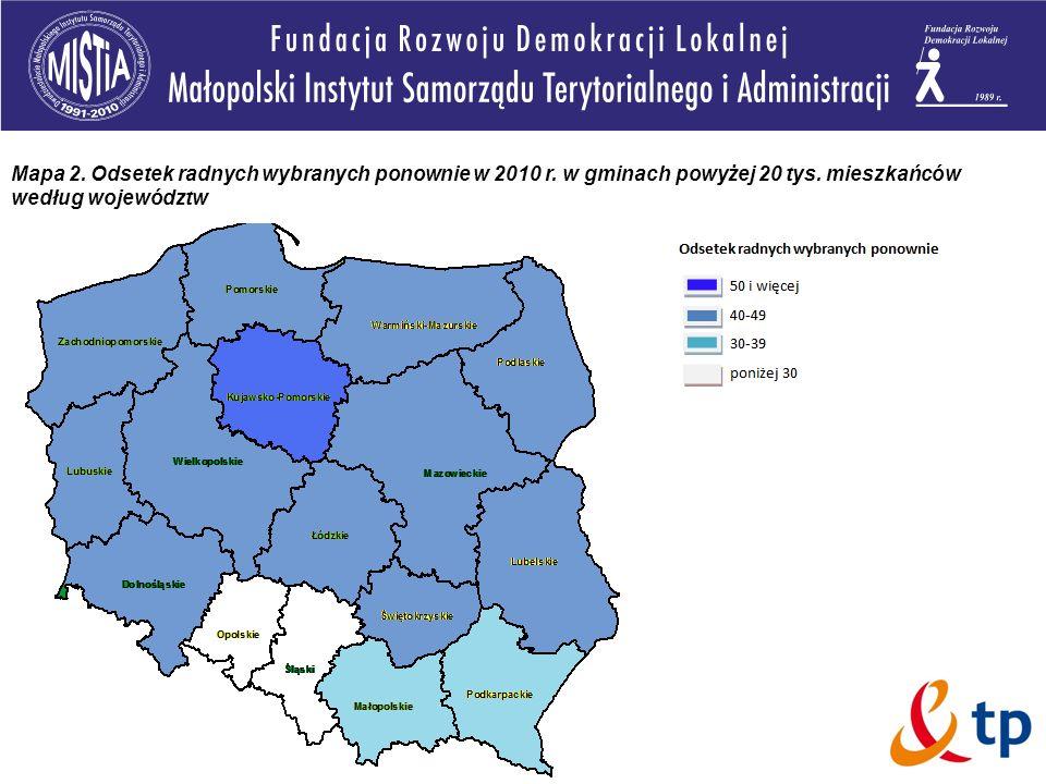 Mapa 2. Odsetek radnych wybranych ponownie w 2010 r. w gminach powyżej 20 tys. mieszkańców według województw