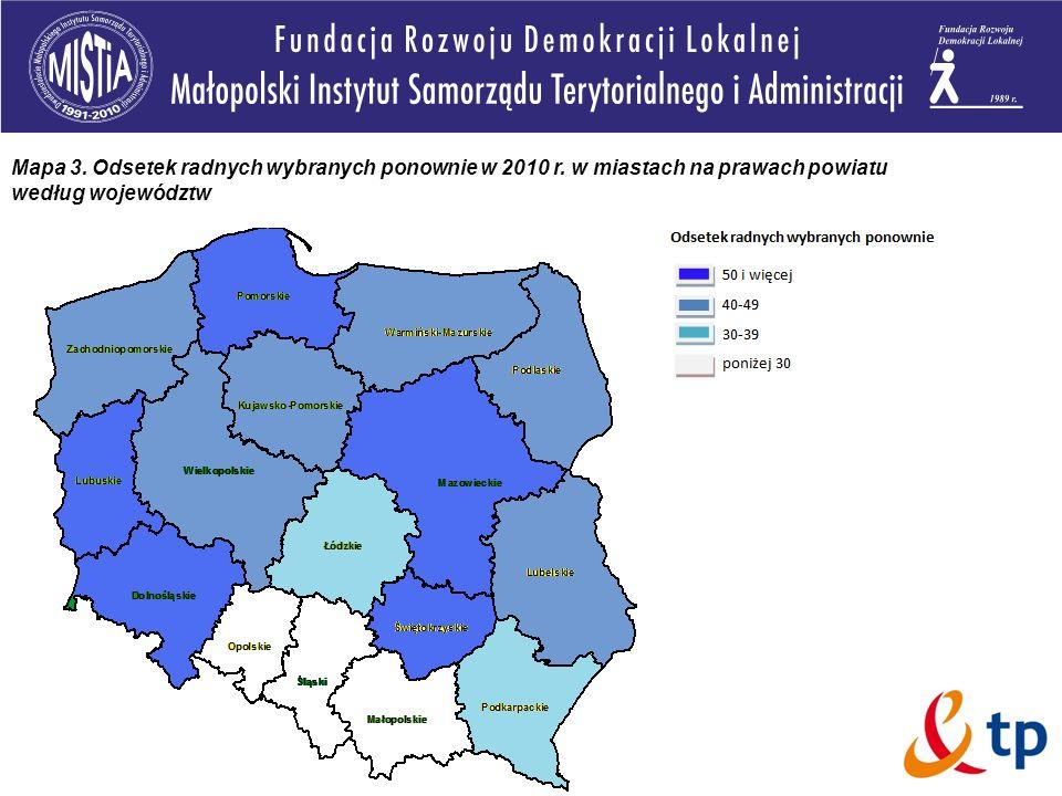 Mapa 3. Odsetek radnych wybranych ponownie w 2010 r. w miastach na prawach powiatu według województw
