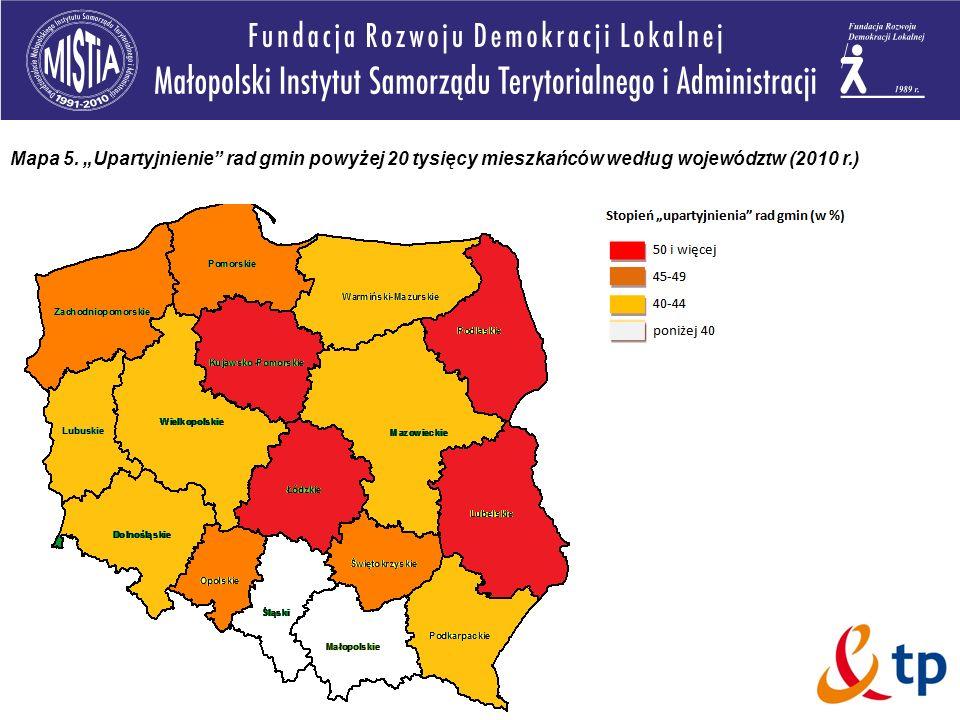 Mapa 5. Upartyjnienie rad gmin powyżej 20 tysięcy mieszkańców według województw (2010 r.)