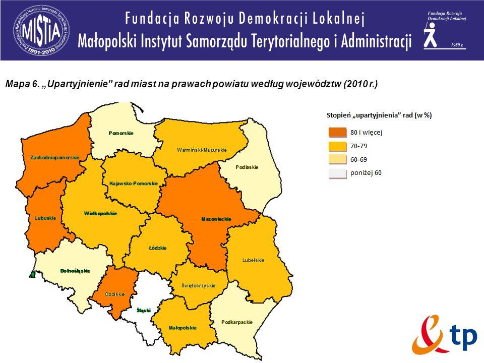 Mapa 6. Upartyjnienie rad miast na prawach powiatu według województw (2010 r.)