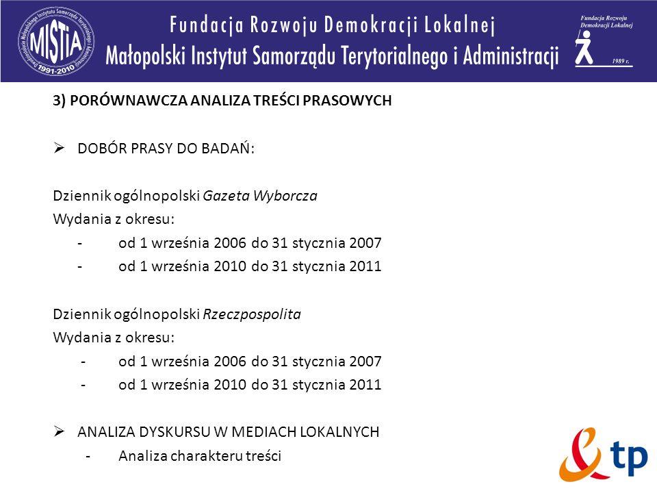 3) PORÓWNAWCZA ANALIZA TREŚCI PRASOWYCH DOBÓR PRASY DO BADAŃ: Dziennik ogólnopolski Gazeta Wyborcza Wydania z okresu: -od 1 września 2006 do 31 styczn