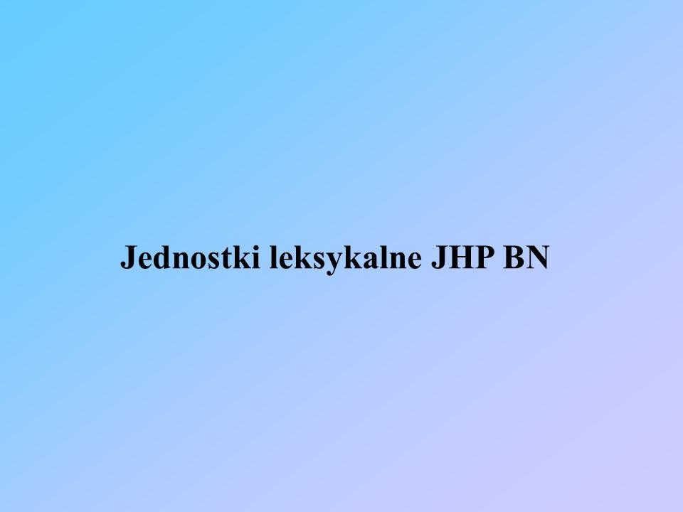 Jednostki leksykalne JHP BN