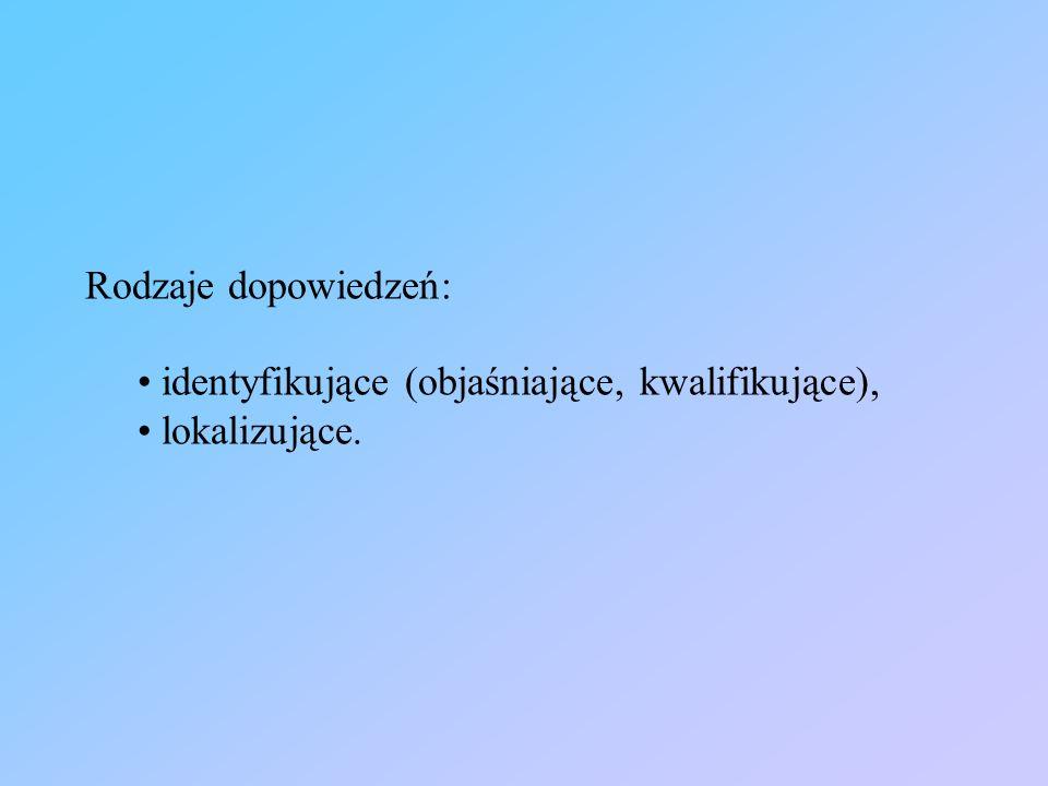 Rodzaje dopowiedzeń: identyfikujące (objaśniające, kwalifikujące), lokalizujące.