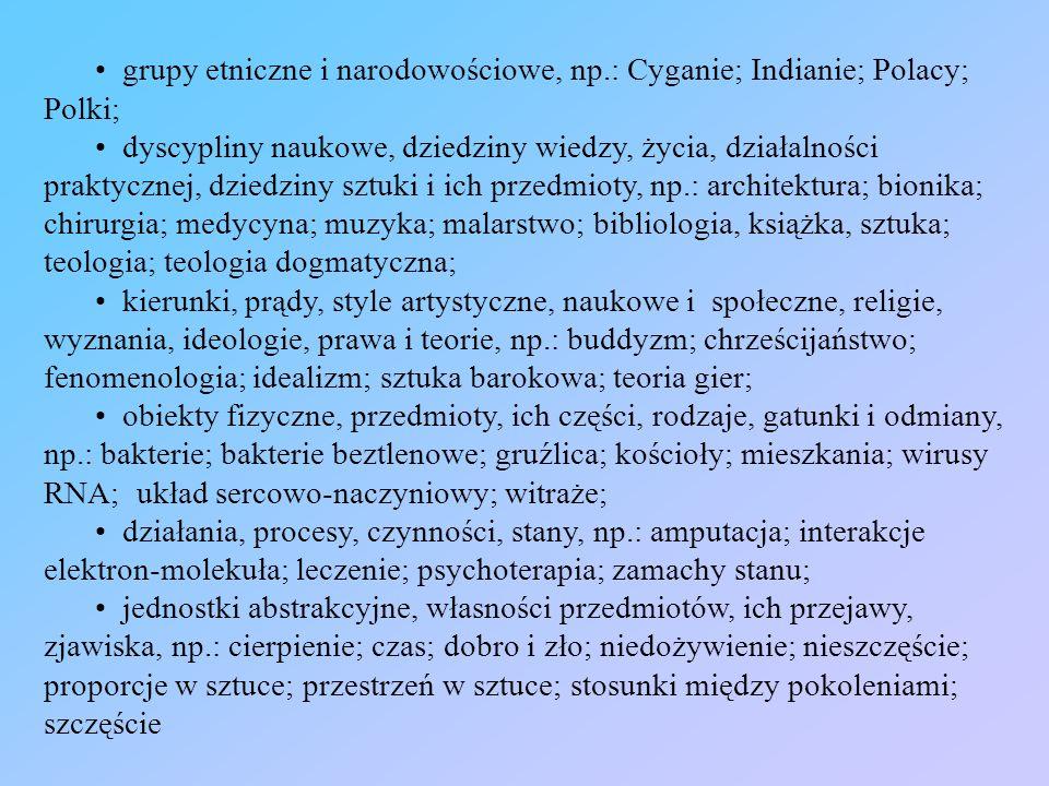 grupy etniczne i narodowościowe, np.: Cyganie; Indianie; Polacy; Polki; dyscypliny naukowe, dziedziny wiedzy, życia, działalności praktycznej, dziedzi