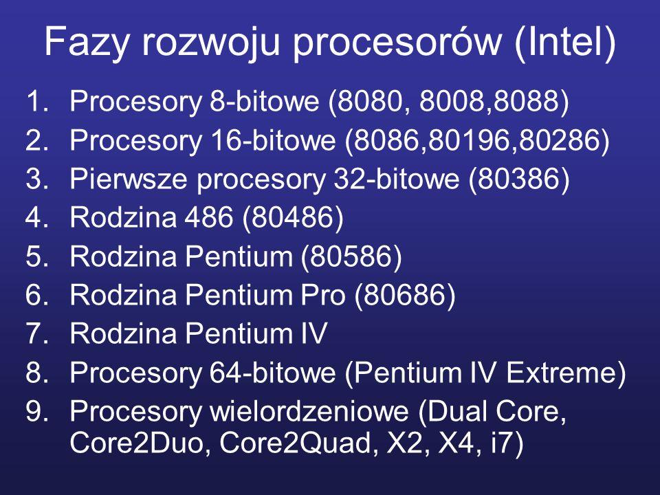 Fazy rozwoju procesorów (Intel) 1.Procesory 8-bitowe (8080, 8008,8088) 2.Procesory 16-bitowe (8086,80196,80286) 3.Pierwsze procesory 32-bitowe (80386)