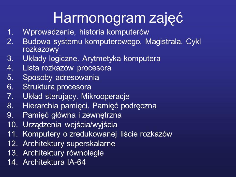Harmonogram zajęć 1.Wprowadzenie, historia komputerów 2.Budowa systemu komputerowego. Magistrala. Cykl rozkazowy 3.Układy logiczne. Arytmetyka kompute