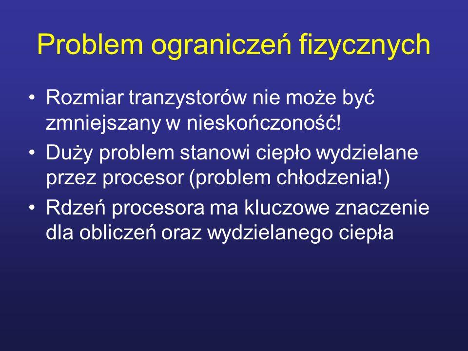 Problem ograniczeń fizycznych Rozmiar tranzystorów nie może być zmniejszany w nieskończoność! Duży problem stanowi ciepło wydzielane przez procesor (p