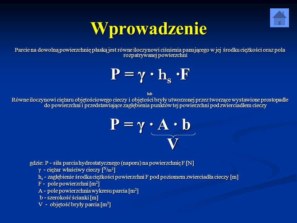 Wzór na parcie z pomiaru Parcie działające na płaską ściankę pływaka obliczamy z równania momentów: G · r = P · r 1 Gdzie: G – siła ciężkości [N] r – ramię siły ciężkości [m] r 1 – ramię siły parcia [m]