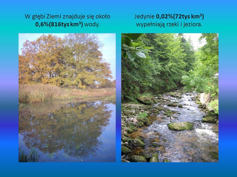 W głębi Ziemi znajduje się około 0,6%(816tys km 3 ) wody. Jedynie 0,02%(72tys km 3 ) wypełniają rzeki i jeziora.