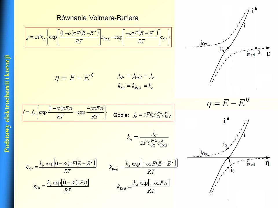 13 Podstawy elektrochemii i korozji Równanie Volmera-Butlera Gdzie:
