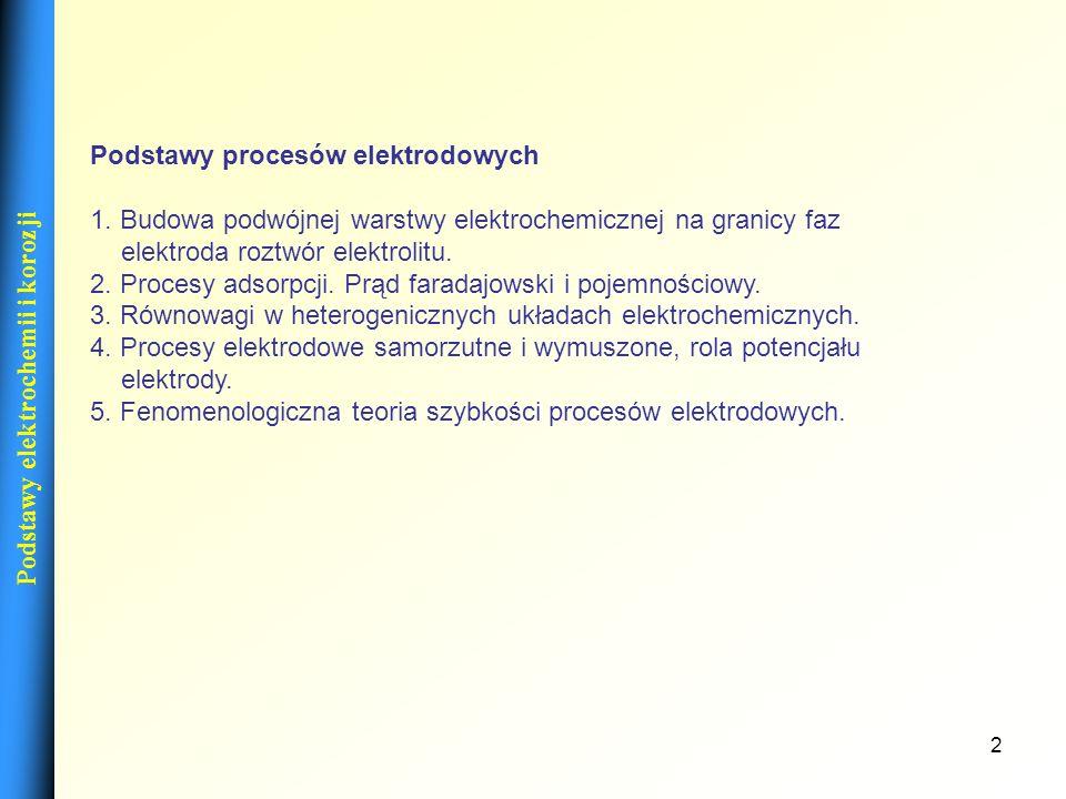 2 Podstawy procesów elektrodowych 1. Budowa podwójnej warstwy elektrochemicznej na granicy faz elektroda roztwór elektrolitu. 2. Procesy adsorpcji. Pr
