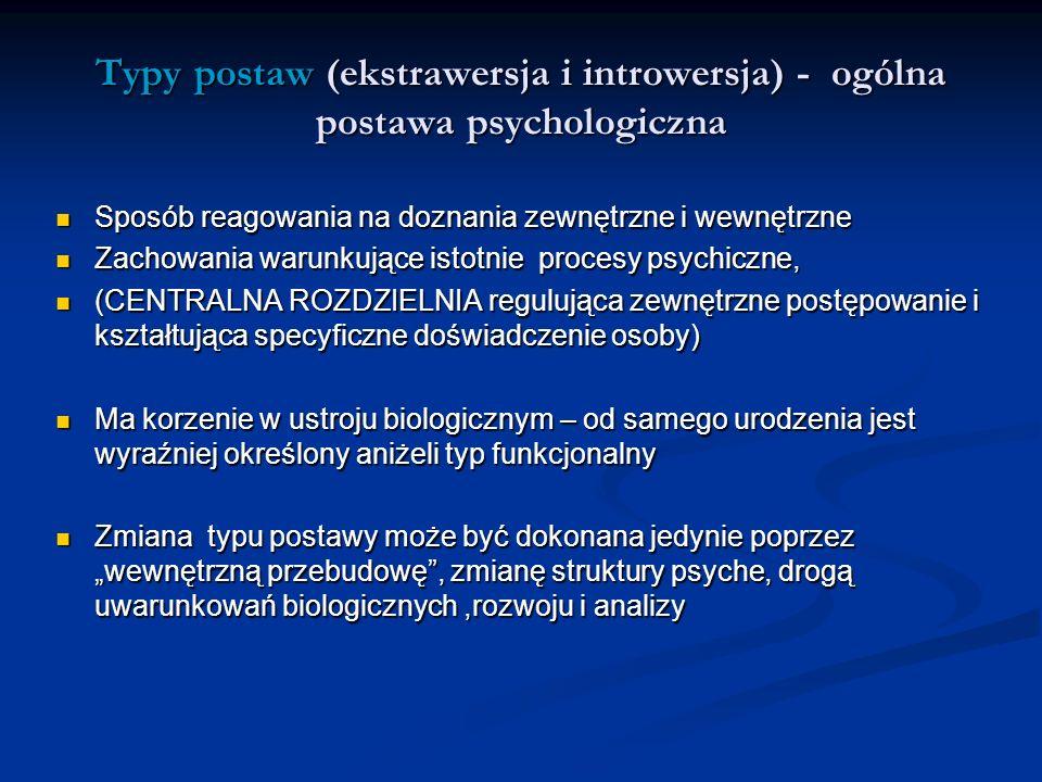Typy postaw (ekstrawersja i introwersja) - ogólna postawa psychologiczna Sposób reagowania na doznania zewnętrzne i wewnętrzne Sposób reagowania na do
