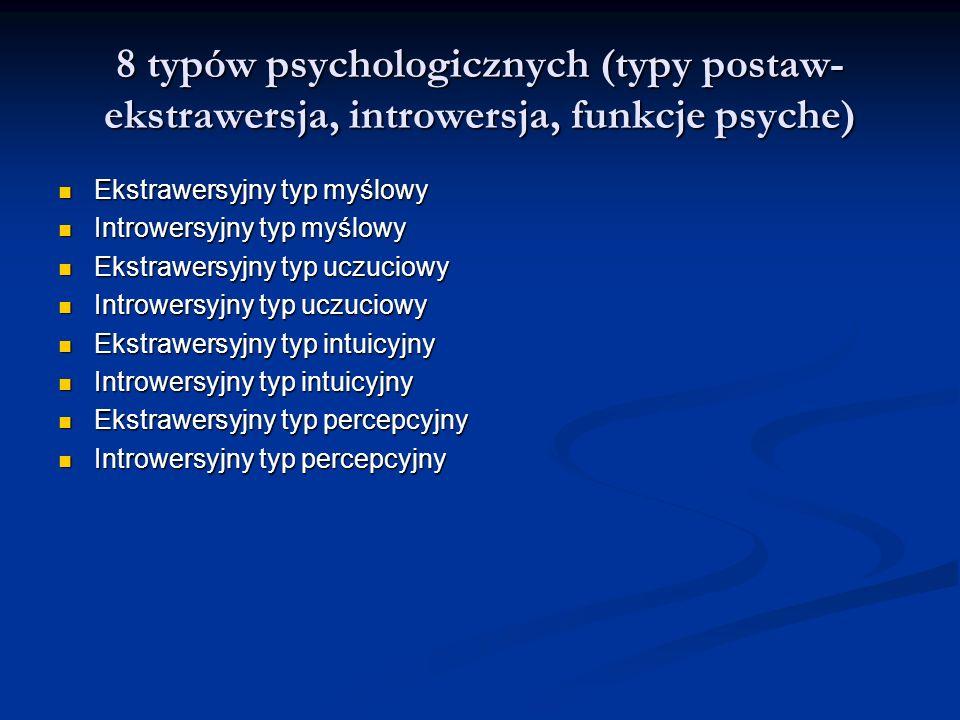 8 typów psychologicznych (typy postaw- ekstrawersja, introwersja, funkcje psyche) Ekstrawersyjny typ myślowy Ekstrawersyjny typ myślowy Introwersyjny