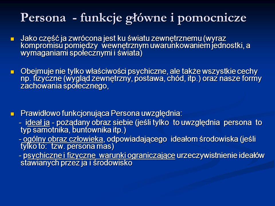 Persona - funkcje główne i pomocnicze Jako część ja zwrócona jest ku światu zewnętrznemu (wyraz kompromisu pomiędzy wewnętrznym uwarunkowaniem jednost