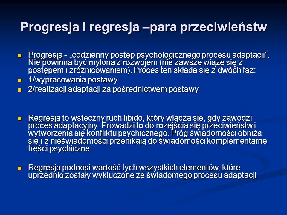 Progresja i regresja –para przeciwieństw Progresja - codzienny postęp psychologicznego procesu adaptacji. Nie powinna być mylona z rozwojem (nie zawsz