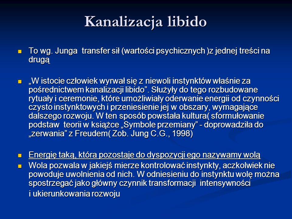 Kanalizacja libido Kanalizacja libido To wg. Junga transfer sił (wartości psychicznych )z jednej treści na drugą To wg. Junga transfer sił (wartości p