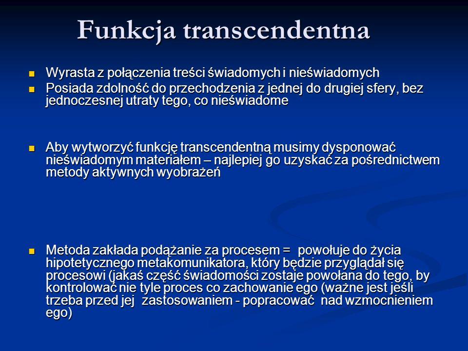 Funkcja transcendentna Wyrasta z połączenia treści świadomych i nieświadomych Wyrasta z połączenia treści świadomych i nieświadomych Posiada zdolność