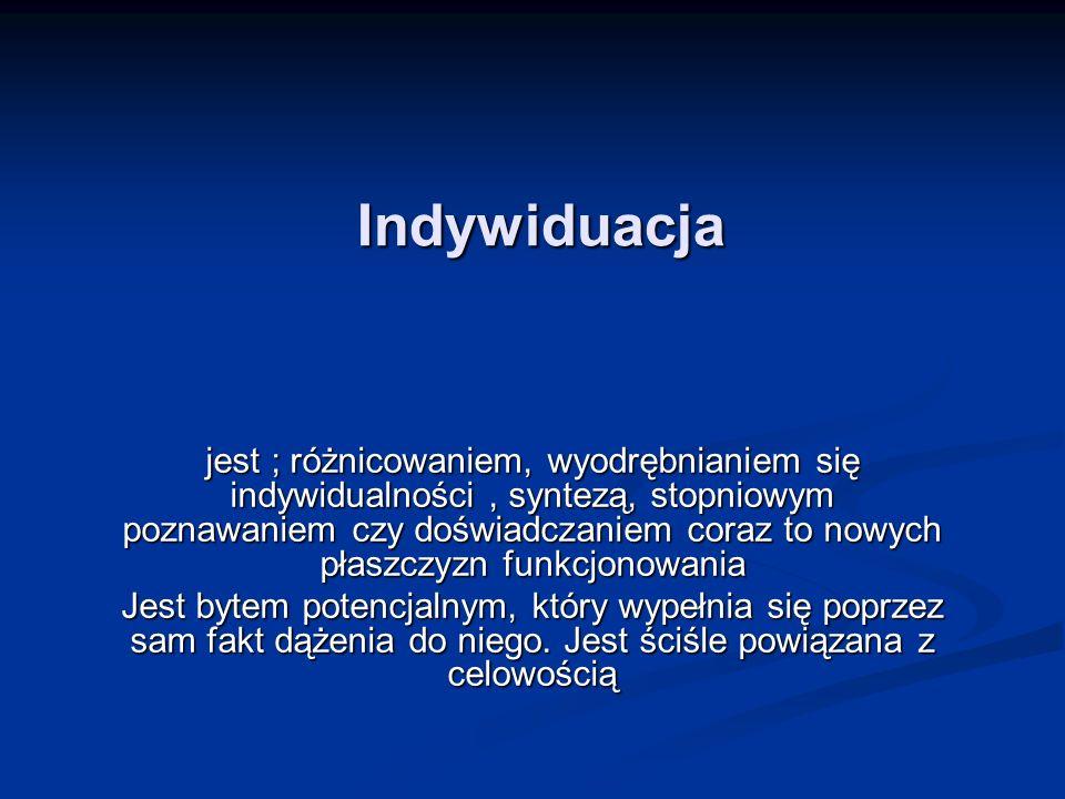 Indywiduacja jest ; różnicowaniem, wyodrębnianiem się indywidualności, syntezą, stopniowym poznawaniem czy doświadczaniem coraz to nowych płaszczyzn f