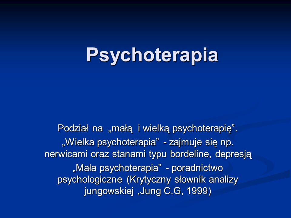 Psychoterapia Podział na małą i wielką psychoterapię. Wielka psychoterapia - zajmuje się np. nerwicami oraz stanami typu bordeline, depresją Mała psyc