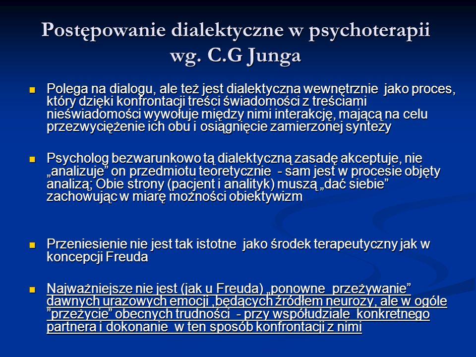 Postępowanie dialektyczne w psychoterapii wg. C.G Junga Polega na dialogu, ale też jest dialektyczna wewnętrznie jako proces, który dzięki konfrontacj
