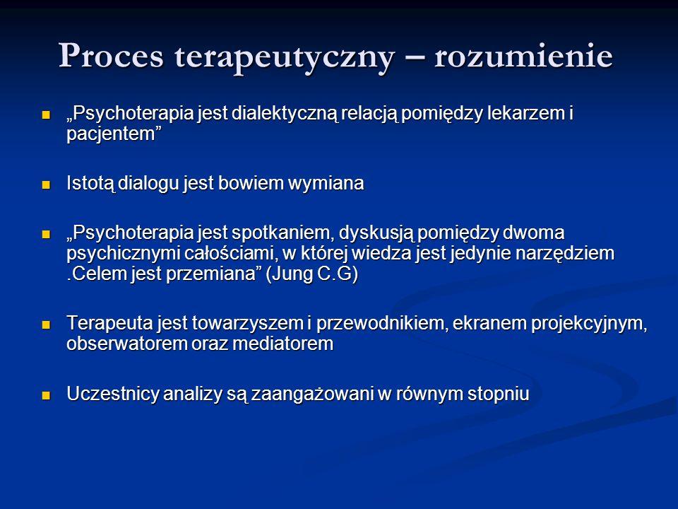 Proces terapeutyczny – rozumienie Psychoterapia jest dialektyczną relacją pomiędzy lekarzem i pacjentem Psychoterapia jest dialektyczną relacją pomięd