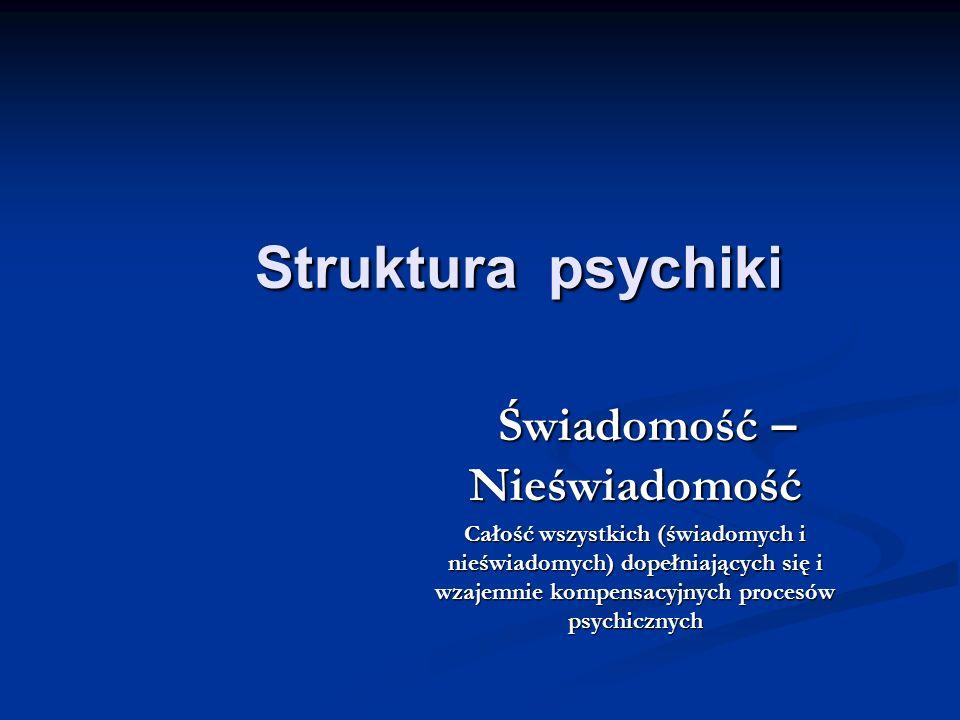 Struktura psychiki Struktura psychiki Świadomość – Nieświadomość Świadomość – Nieświadomość Całość wszystkich (świadomych i nieświadomych) dopełniając