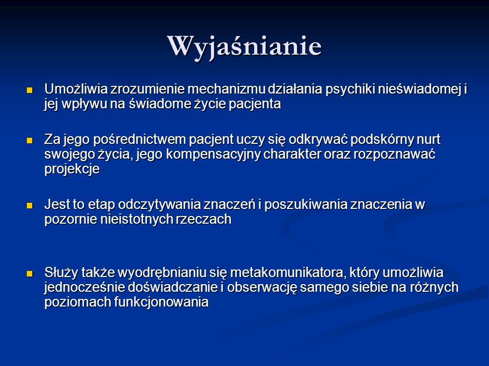 Wyjaśnianie Umożliwia zrozumienie mechanizmu działania psychiki nieświadomej i jej wpływu na świadome życie pacjenta Umożliwia zrozumienie mechanizmu