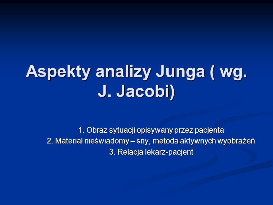 Aspekty analizy Junga ( wg. J. Jacobi) 1. Obraz sytuacji opisywany przez pacjenta 2. Materiał nieświadomy – sny, metoda aktywnych wyobrażeń 3. Relacja