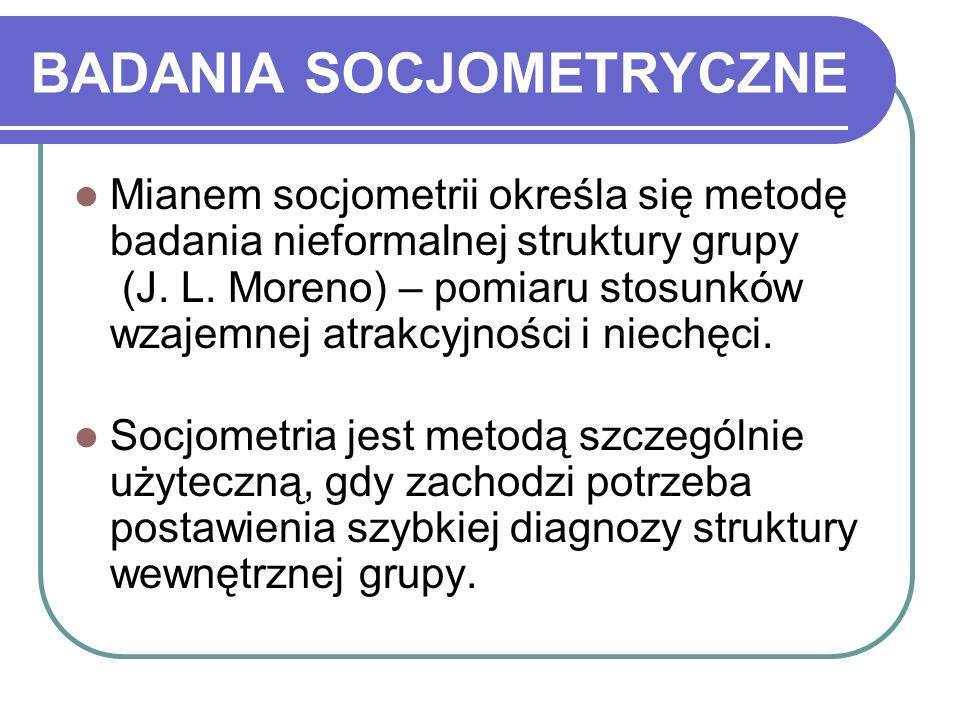 BADANIA SOCJOMETRYCZNE Mianem socjometrii określa się metodę badania nieformalnej struktury grupy (J.
