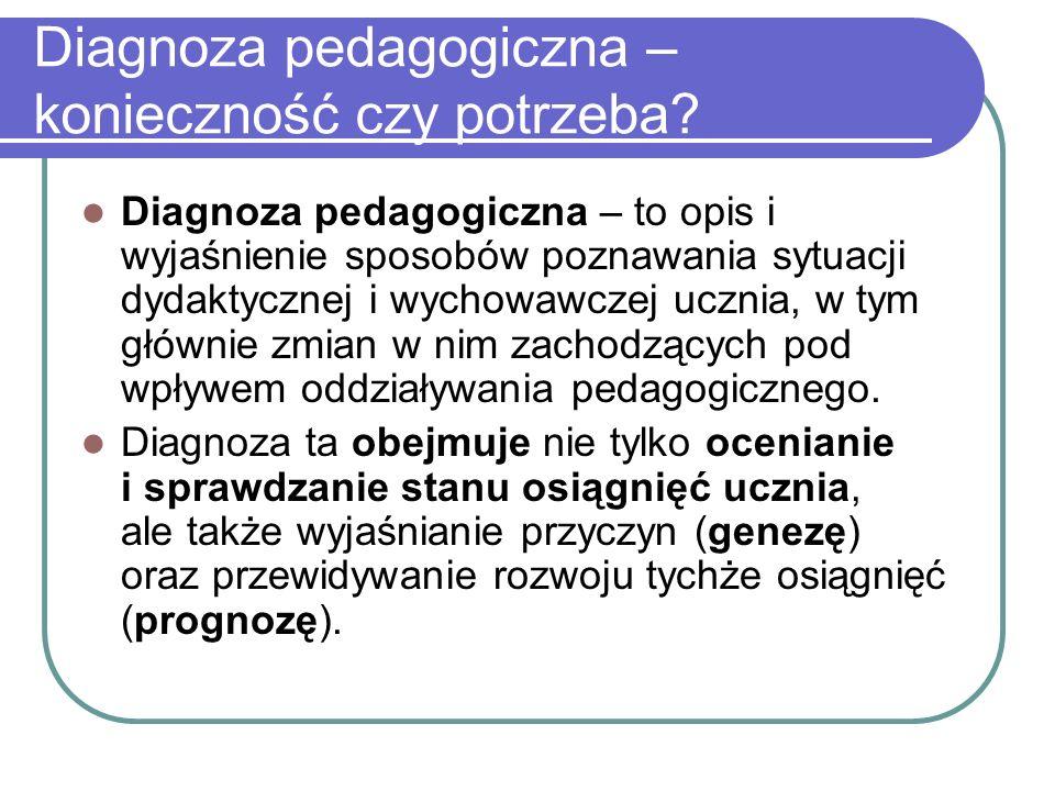 Diagnoza pedagogiczna – konieczność czy potrzeba.