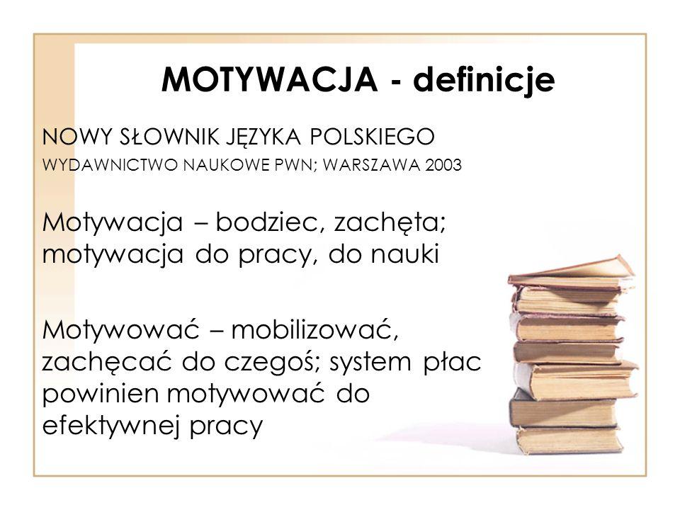 MOTYWACJA - definicje NOWY SŁOWNIK JĘZYKA POLSKIEGO WYDAWNICTWO NAUKOWE PWN; WARSZAWA 2003 Motywacja – bodziec, zachęta; motywacja do pracy, do nauki