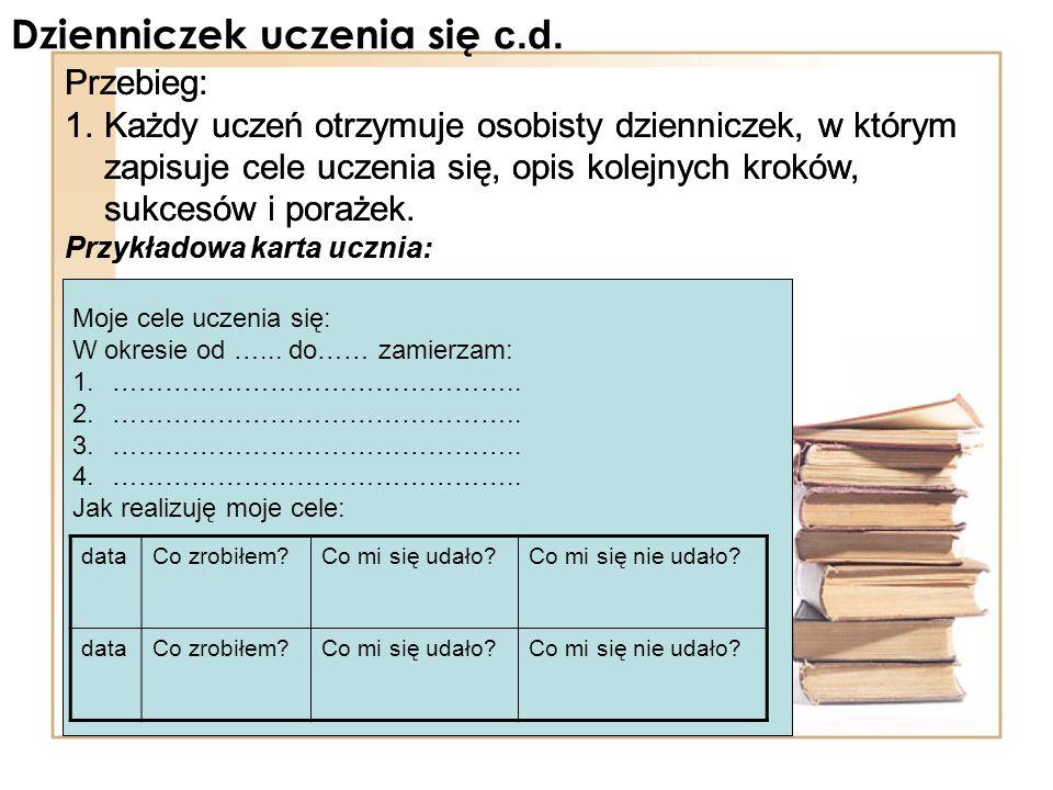 Dzienniczek uczenia się c.d. Przebieg: 1.Każdy uczeń otrzymuje osobisty dzienniczek, w którym zapisuje cele uczenia się, opis kolejnych kroków, sukces