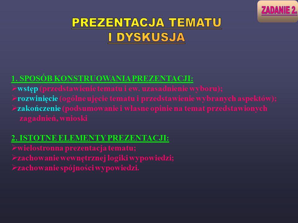 1. SPOSÓB KONSTRUOWANIA PREZENTACJI: wstęp (przedstawienie tematu i ew. uzasadnienie wyboru); rozwinięcie (ogólne ujęcie tematu i przedstawienie wybra