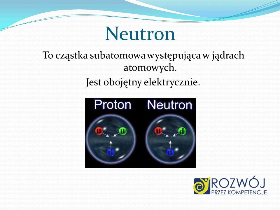Neutron To cząstka subatomowa występująca w jądrach atomowych. Jest obojętny elektrycznie.