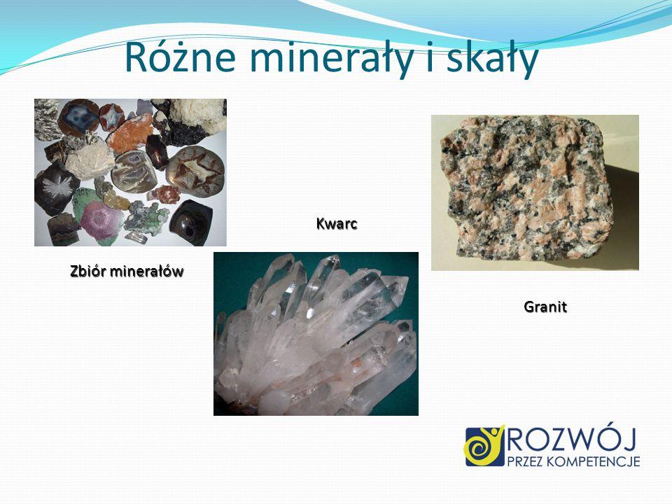 Różne minerały i skały Zbiór minerałów Kwarc Granit