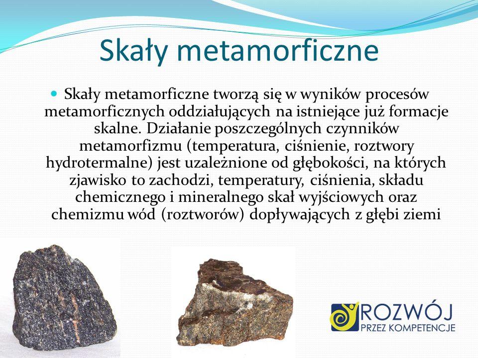 Skały metamorficzne Skały metamorficzne tworzą się w wyników procesów metamorficznych oddziałujących na istniejące już formacje skalne. Działanie posz