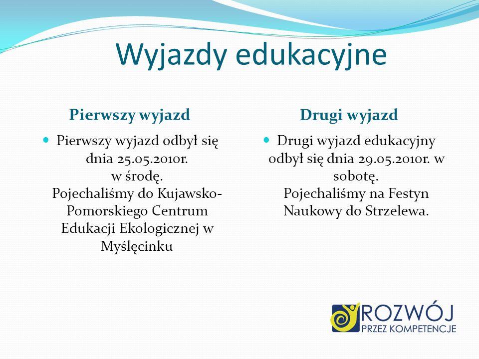 Wyjazdy edukacyjne Pierwszy wyjazd Drugi wyjazd Pierwszy wyjazd odbył się dnia 25.05.2010r. w środę. Pojechaliśmy do Kujawsko- Pomorskiego Centrum Edu