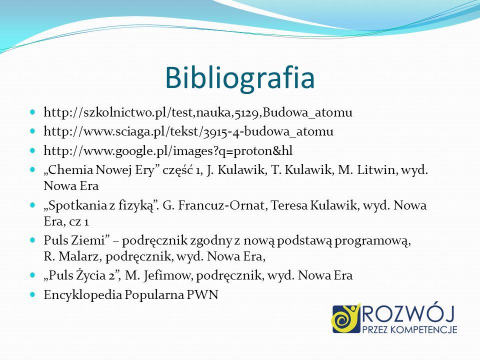 Bibliografia http://szkolnictwo.pl/test,nauka,5129,Budowa_atomu http://www.sciaga.pl/tekst/3915-4-budowa_atomu http://www.google.pl/images?q=proton&hl