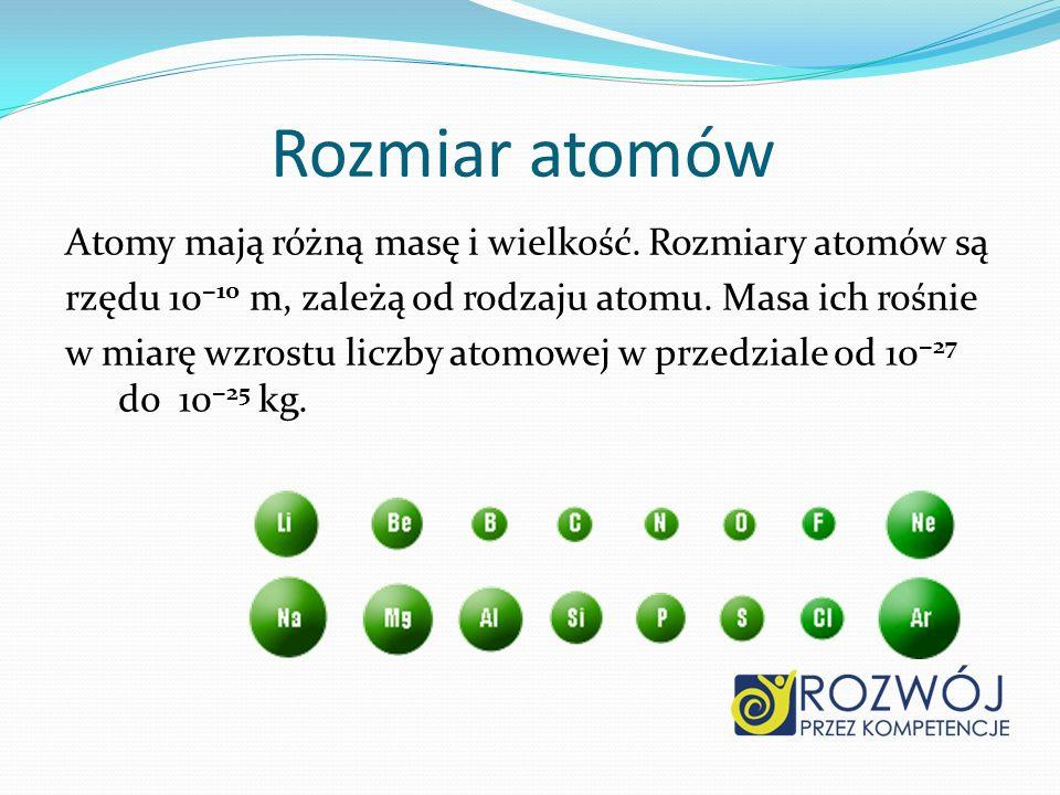 Rozmiar atomów Atomy mają różną masę i wielkość. Rozmiary atomów są rzędu 10 10 m, zależą od rodzaju atomu. Masa ich rośnie w miarę wzrostu liczby ato