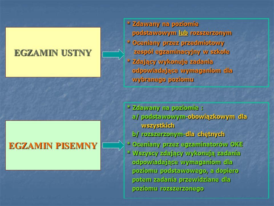 EGZAMIN USTNY EGZAMIN PISEMNY * Zdawany na poziomie podstawowym lub rozszerzonym podstawowym lub rozszerzonym * Oceniany przez przedmiotowy zespół egz